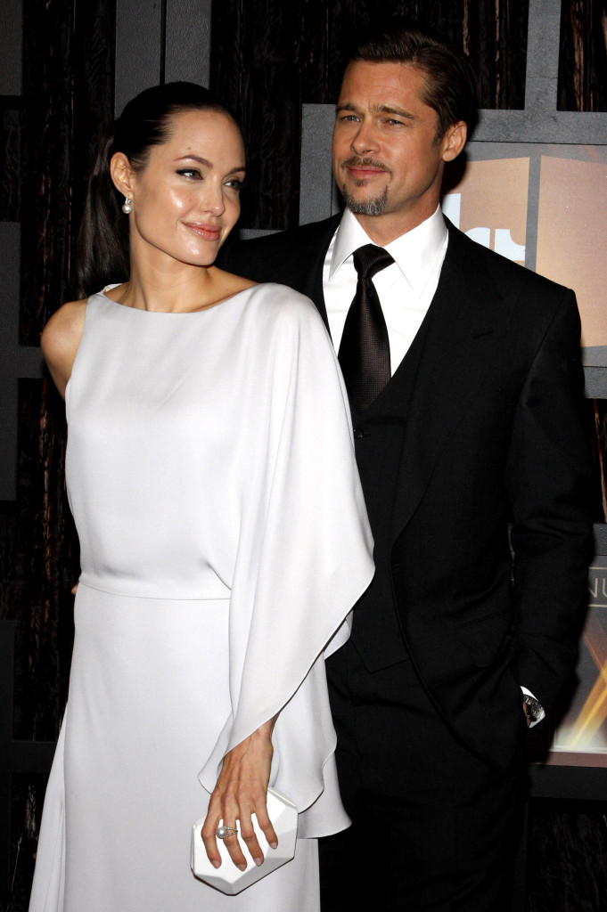 53149811 - angelina jolie and brad pitt at the 14th annual critics' choice awards held at the santa monica civic center in santa monica on january 8, 2009.